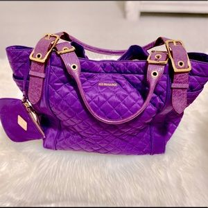 EUC💜MZ WALLACE💜RARE Quilted Leather Trim Tote